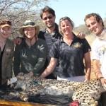 The Cheetah Team With Bella – CCF Veterinary Nurse Rosie Glazier; Dr. Gabriella Flacke; Visiting Veterinarian From France, Dr. Mathieu Werts; Juliette Erdtsieck; And CCF Cheetah Release Supervisor Ryan Sucaet